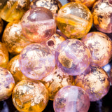 25 Venetian gold flake and amethyst 6mm Czech glass round beads