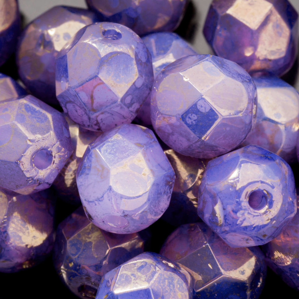 15% Off 50 Alexandrite purple moondust 6mm Czech firepolished rounds