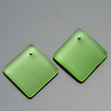 2 Cultured bottle curved sea glass diamond pendants, 18mm, Peridot green