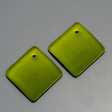 2 Cultured bottle curved sea glass diamond pendants, 18mm, Olive green
