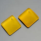 2 Cultured bottle curved sea glass diamond pendants, 18mm, Sunshine yellow