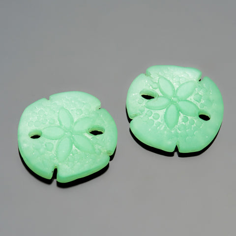 2 Cultured recycled sea glass sand dollar pendants, 18 x 20mm beads, Opaque seafoam