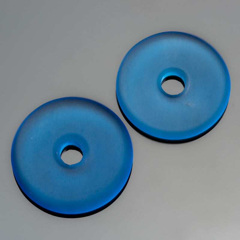 2 Cultured Faux Sea Glass Light Sapphire Donut Pendants, 25mm, 4mm hole