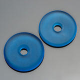 2 Light sapphire sea glass large hole donuts, 25mm, 4mm hole