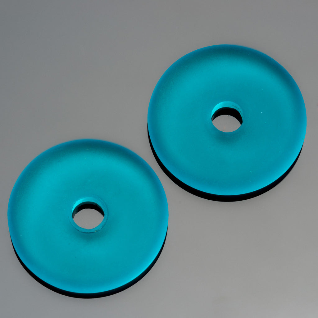 2 Cultured Faux Sea Glass Teal Donut Pendants, 25mm, 4mm hole