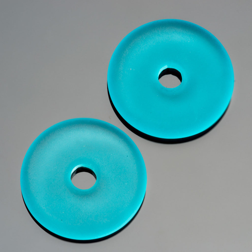 2 Cultured Faux Sea Glass Turquoise Bay Donut Pendants, 25mm, 4mm hole