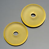 4 Lemon yellow sea glass large hole donuts, 25mm, 4mm hole