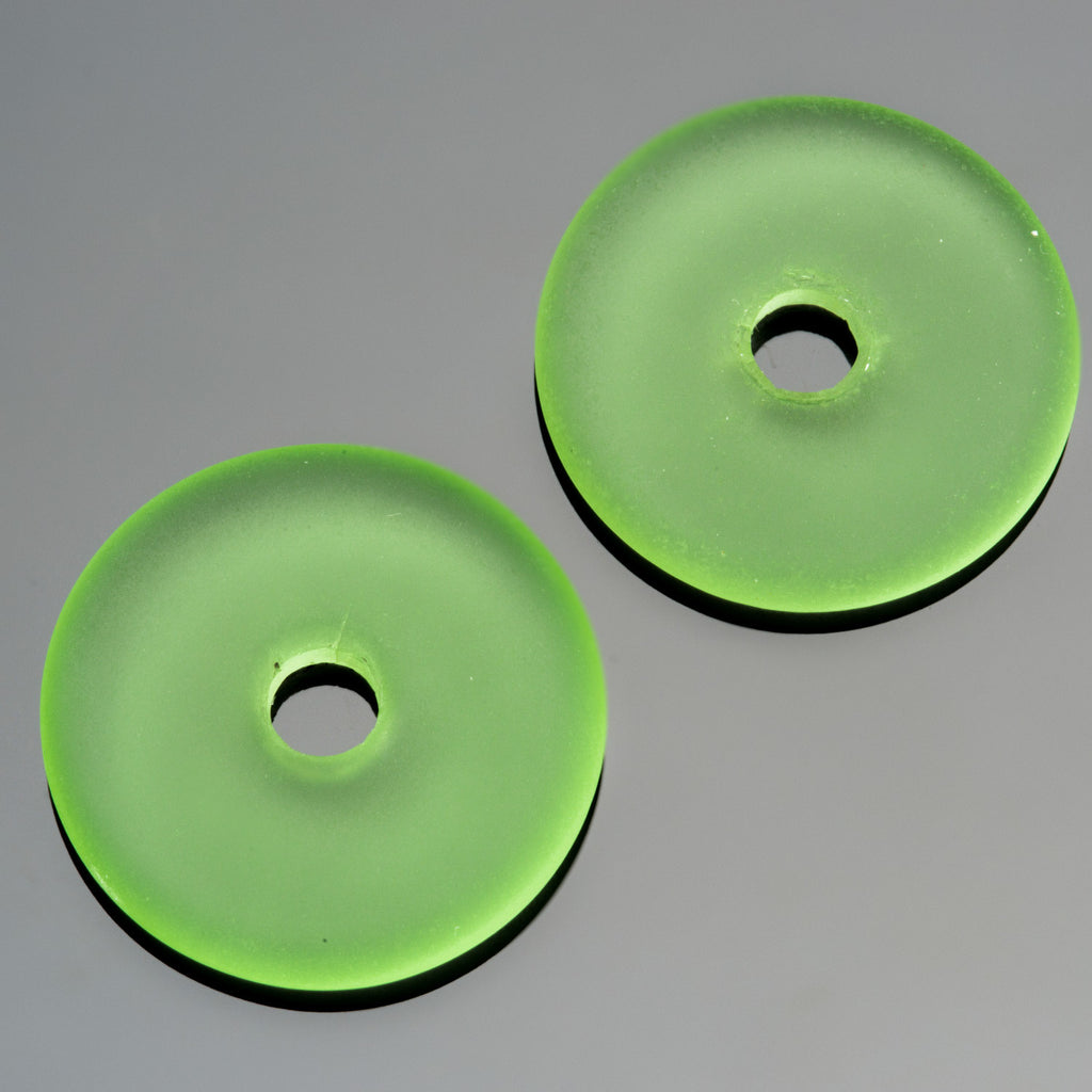 2 Peridot green sea glass large hole donuts, 25mm, 4mm hole