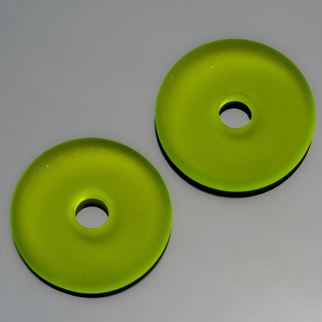 2 Olive green sea glass large hole donuts, 25mm, 4mm hole