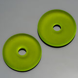 2 or 4 Cultured Faux Sea Glass Olive Donut Pendants, 25mm, 4mm hole
