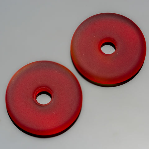 2 Cultured Faux Sea Glass Cherry Red Donut Pendants, 25mm, 4mm hole