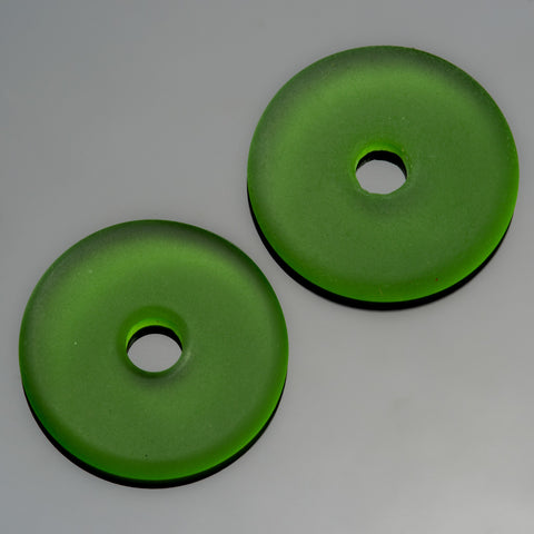 2 Cultured Faux Sea Glass Shamrock Green Donuts, 25mm, 4mm hole