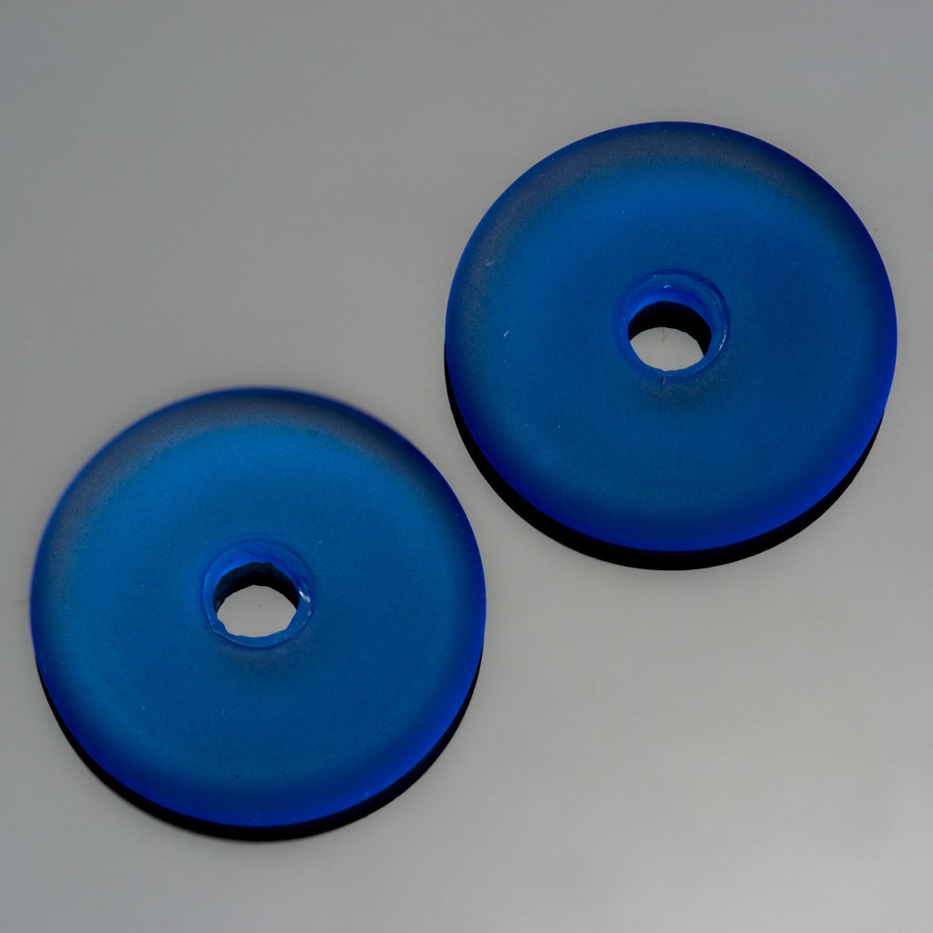 5 Cultured Faux Sea Glass Royal Blue Donut Pendants, 25mm, 4mm hole