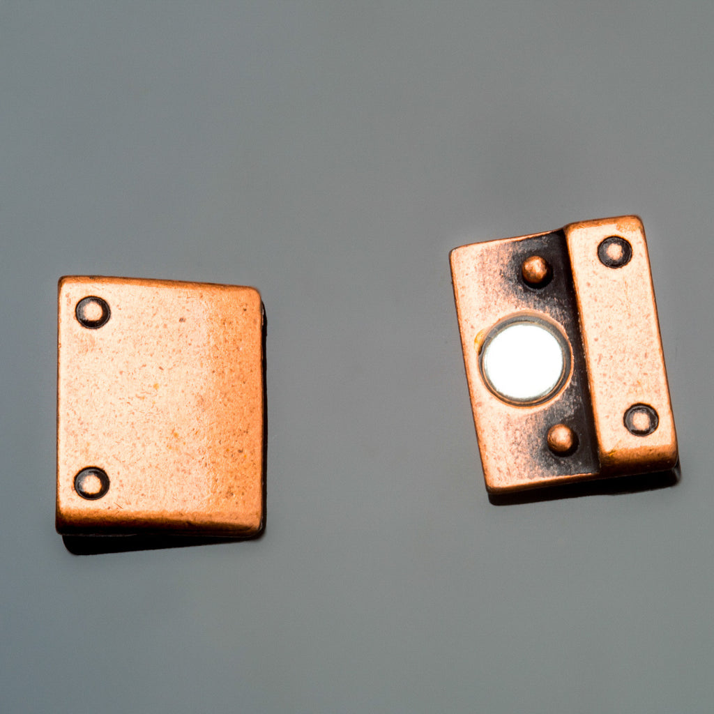 CLEARANCE Unisex antique copper rivet magnetic clasp for use with 15mm flat leather