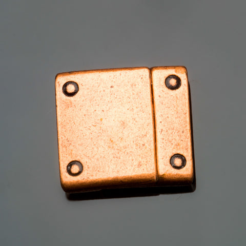 Unisex antique copper rivet magnetic clasp for use with 15mm flat leather