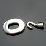 Silver Zamak oval toggle hook clasp, 15 x 21mm