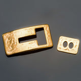 Gold cast Zamak hammered look toggle clasp, 38 x 19mm