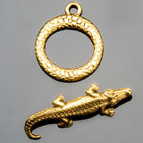 Pewter alligator toggle clasp in antique gold, 27 x 16mm