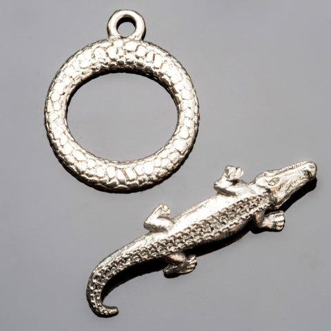 Pewter alligator toggle clasp, 27 x 16mm