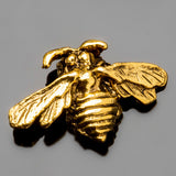 CLEARANCE Large 3mm hole, Gold pewter bee bead or charm, 22 x 14mm, great for leather!