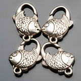 15% Off 12 Antique silver fish, lead, cadmium and nickel-free alloy clasps, 13 x 20mm