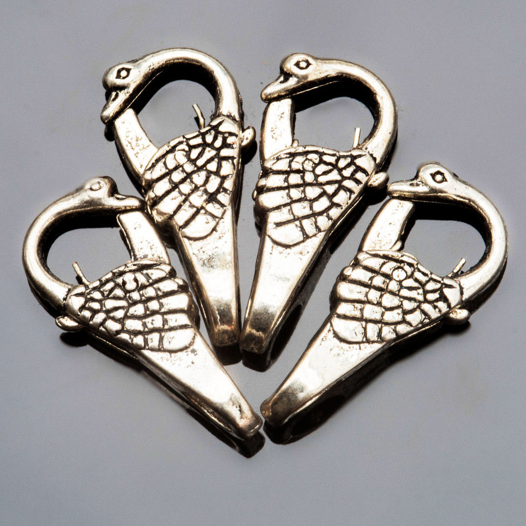 6 Large 4mm hole swan silver lead, cadmium and nickel-free alloy clasps, 22 x 18mm