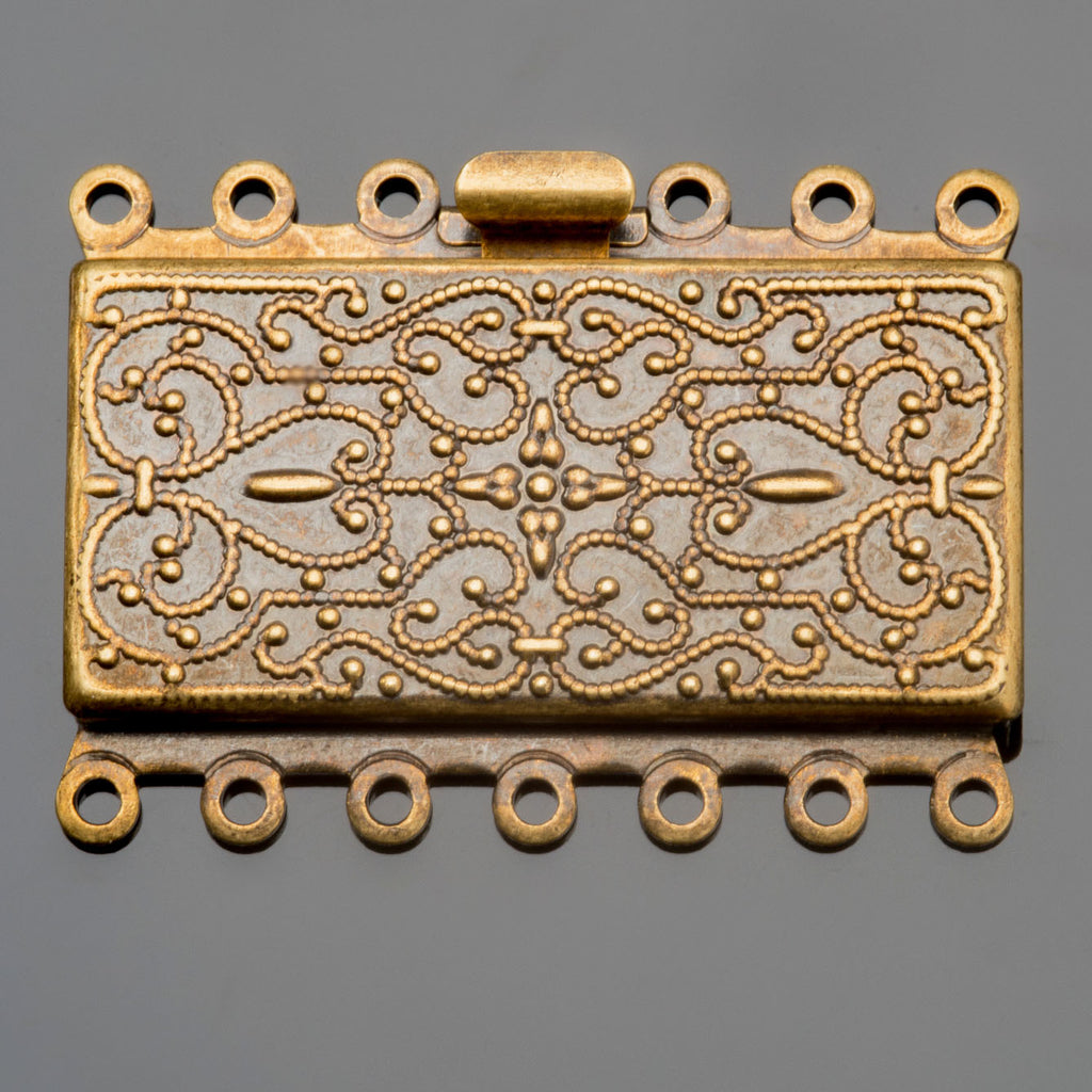 CLEARANCE Antique brass 7 strand vintage style rectangular box clasp, 35 x 26mm