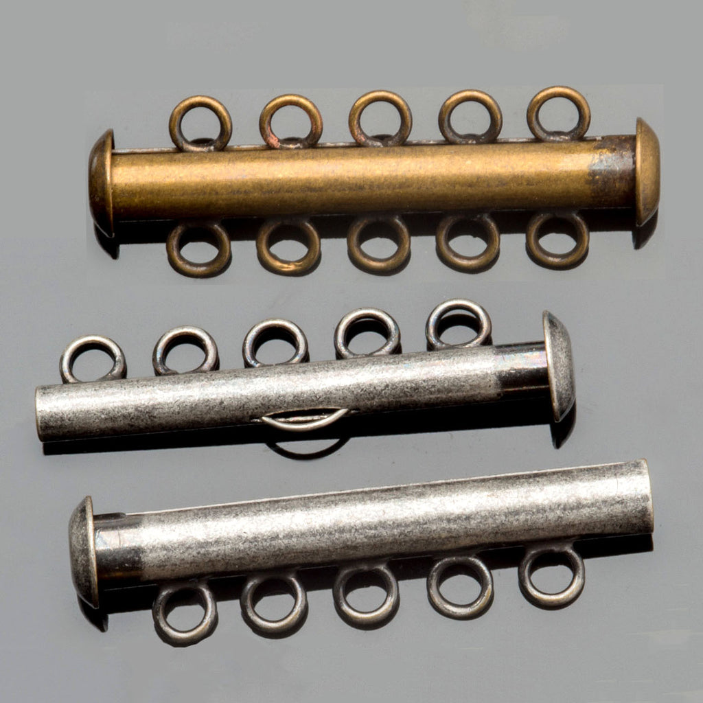 (2) 5 Strand tube slide clasps, Antique Silver or Brass, 31 x 10mm, Holes 2mm