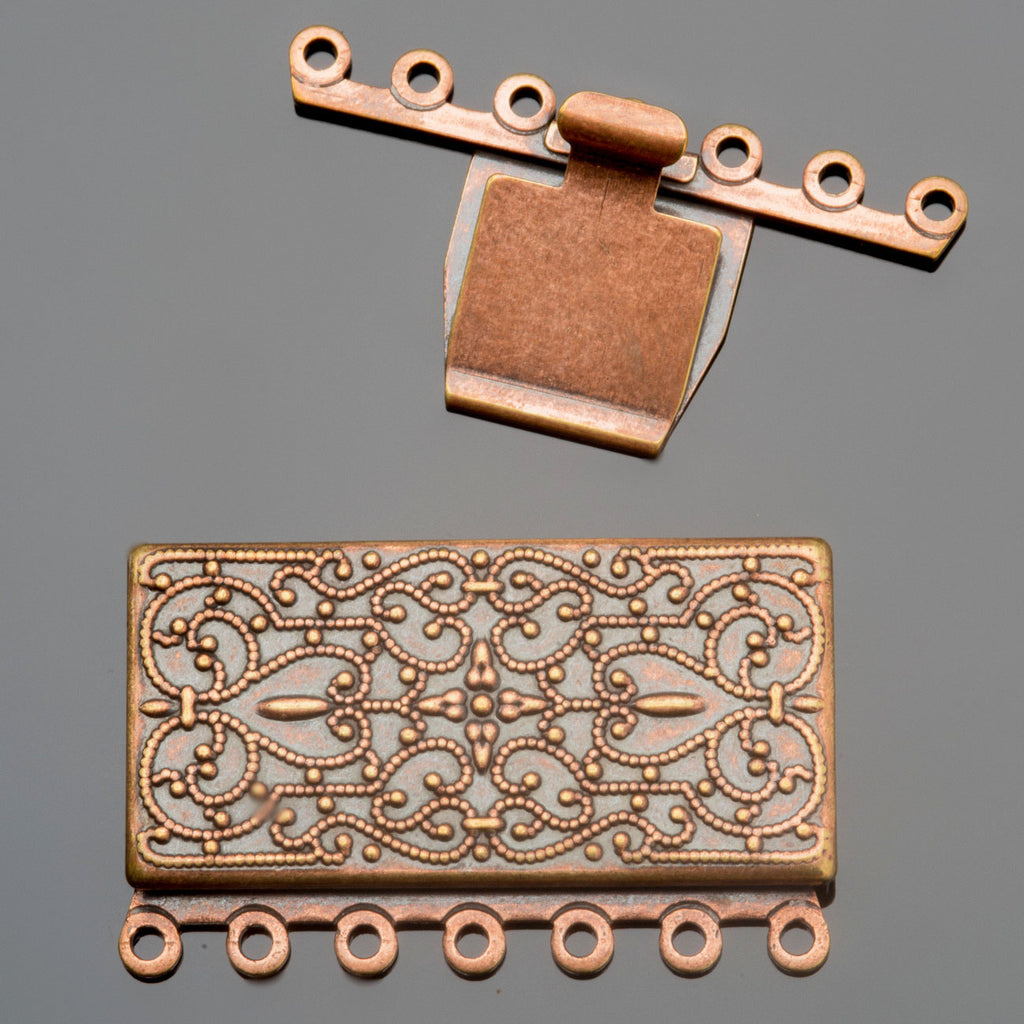 Antique copper 7 strand vintage style rectangular box clasp, 35 x 26mm