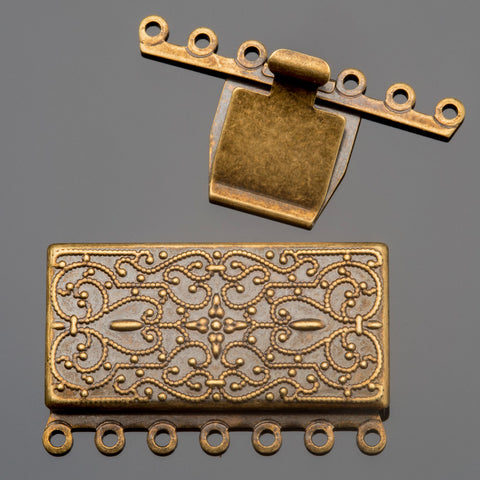 Antique brass 7 strand vintage style rectangular box clasp, 35 x 26mm