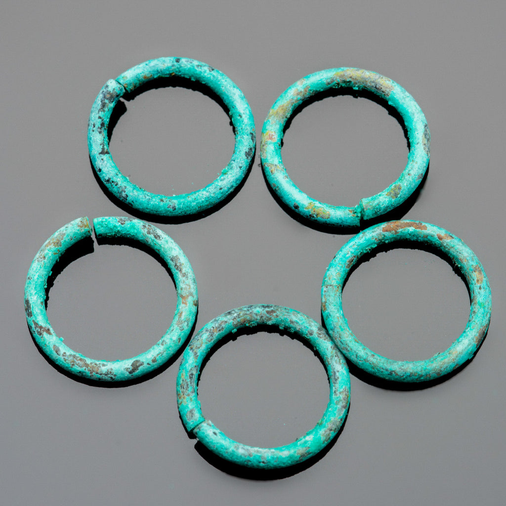 5 Large Handmade green patina  1.3mm 16 gauge wire 11.5mm O.D. jump rings