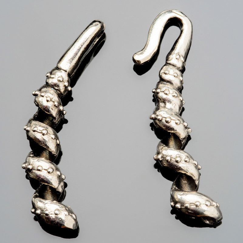 Curlicue hook and eye cast antique silver clasp for up to 2.5mm cord