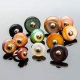 5 Mix Mother of pearl round buttons with wire shank, 10mm