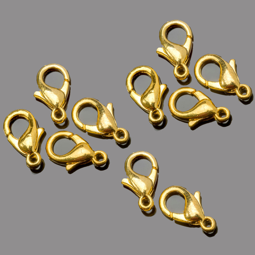 10 Bright gold plated lobster clasps, 10mm