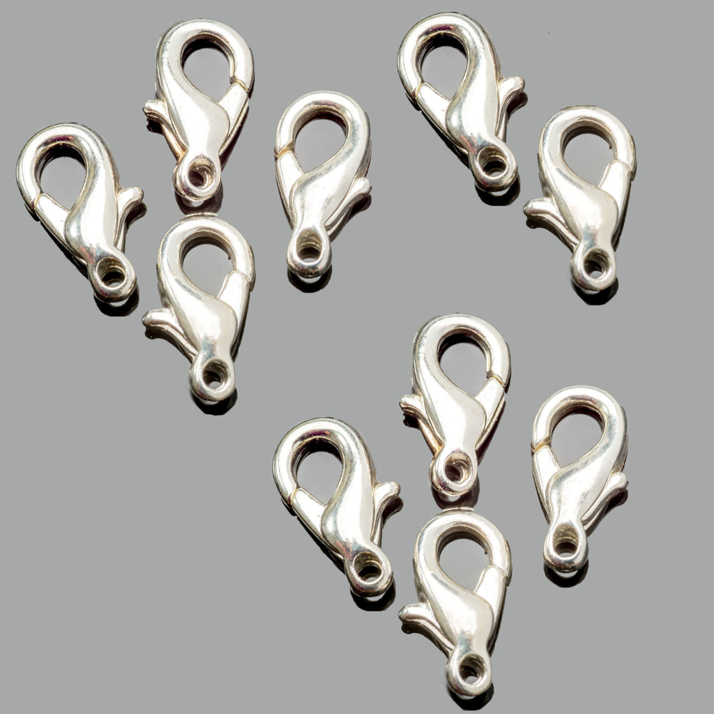 10 Bright silver plated lobster clasps, 10mm