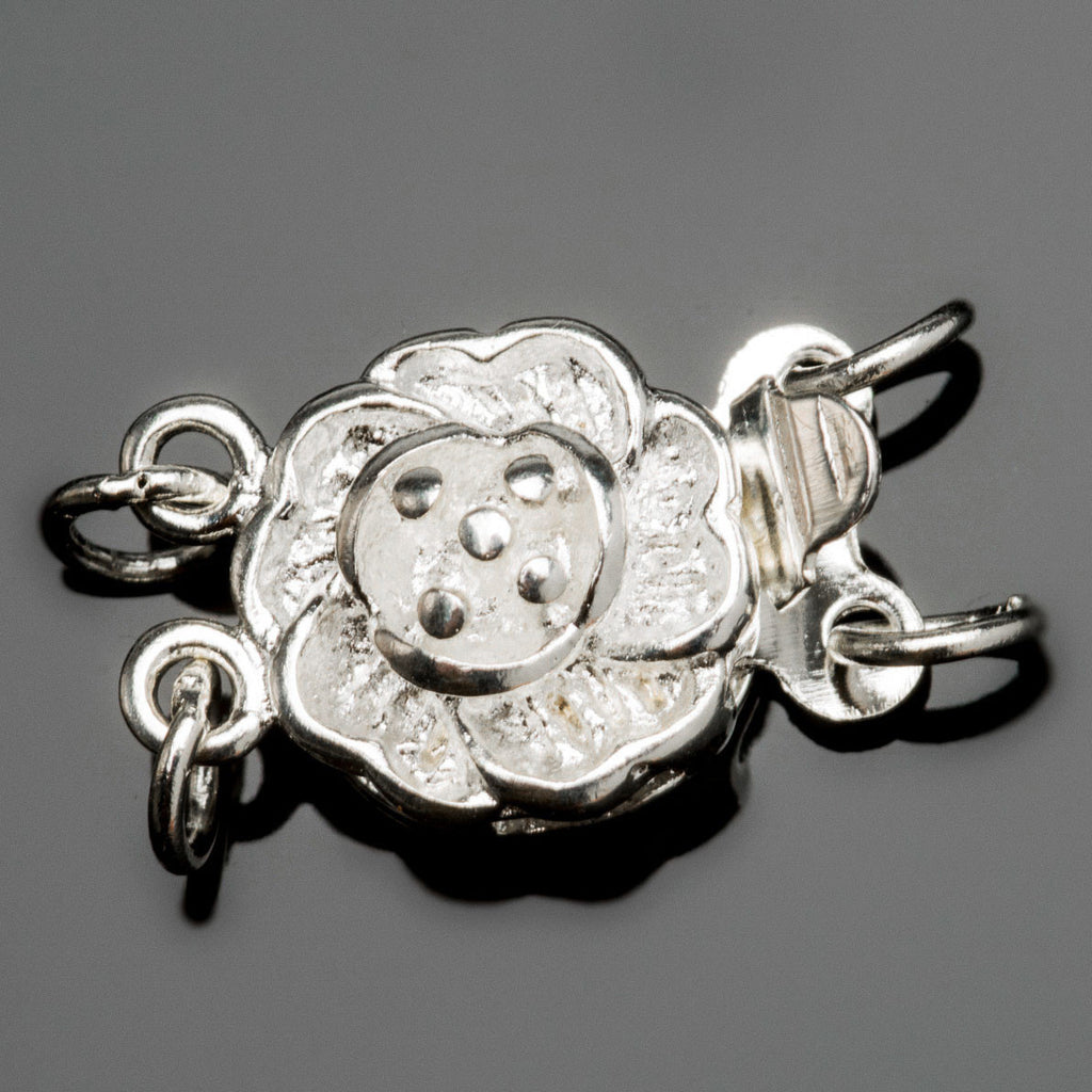 Silver finish brass flower box clasp, 14 x 10mm