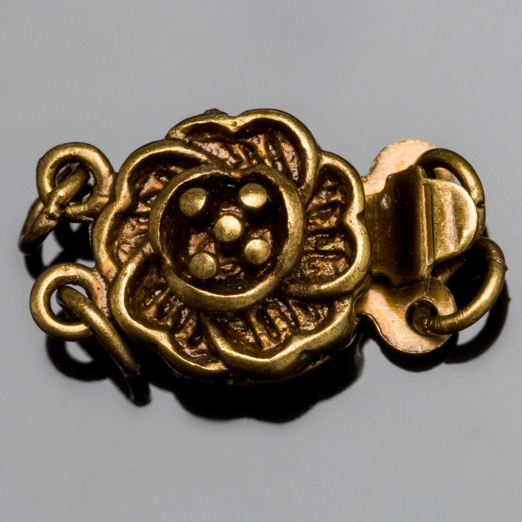 2 Strand antique brass flower box clasp, 14 x 10mm