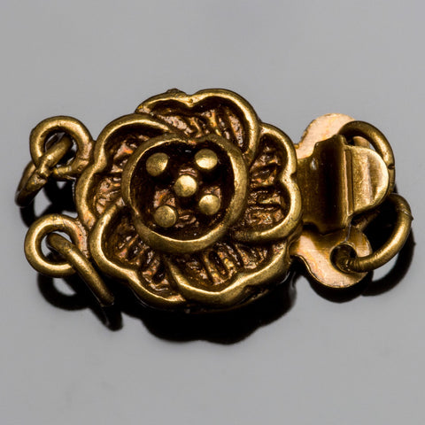 Vintage look oxidized brass flower box clasp, 14 x 10mm