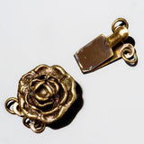 CLEARANCE 2 Strand Vintage style antique brass rose box clasp, 17 x 12mm