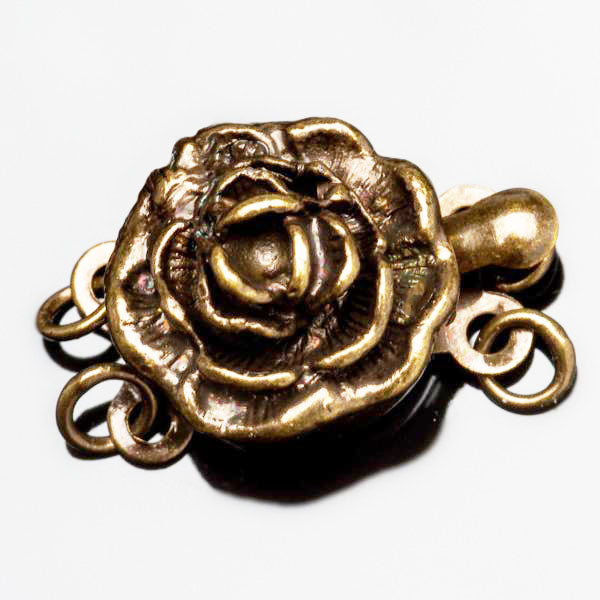 2 Strand Vintage style antique brass rose box clasp, 17 x 12mm