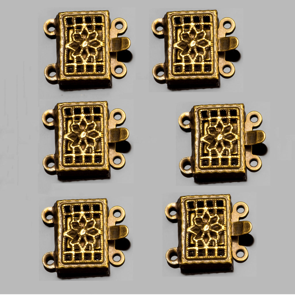 6 Small 2 Strand antique brass ornate rectangular box clasps, 11 x 4mm