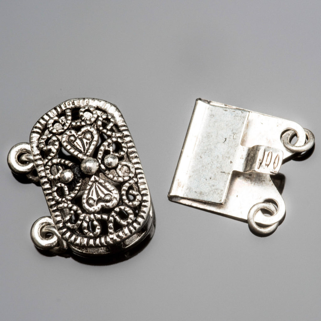 Silver finish brass ornate oval box clasp, 16 x 14mm