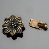 Vintage look oxidized brass flower box clasp, 18 x 13mm
