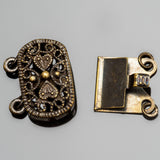 Vintage look brass ornate oval box clasp, 16 x 14mm
