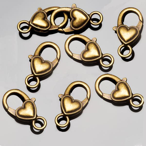 8 Antique brass lead-free alloy heart lobster clasps, 26 x 15mm, Hole 4.5mm