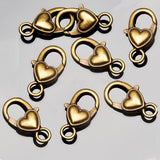 8 Antique brass lead-free alloy heart lobster clasps, 26 x 15mm