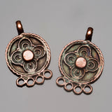 2 Ornate earring pendants, antique copper, 23 x 15mm