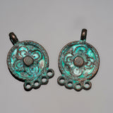 2 Ornate earring pendants, green patina, 23 x 15mm