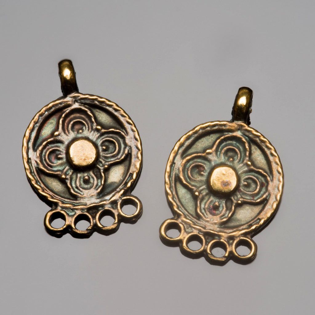2 Ornate earring pendants, antique brass, 23 x 15mm