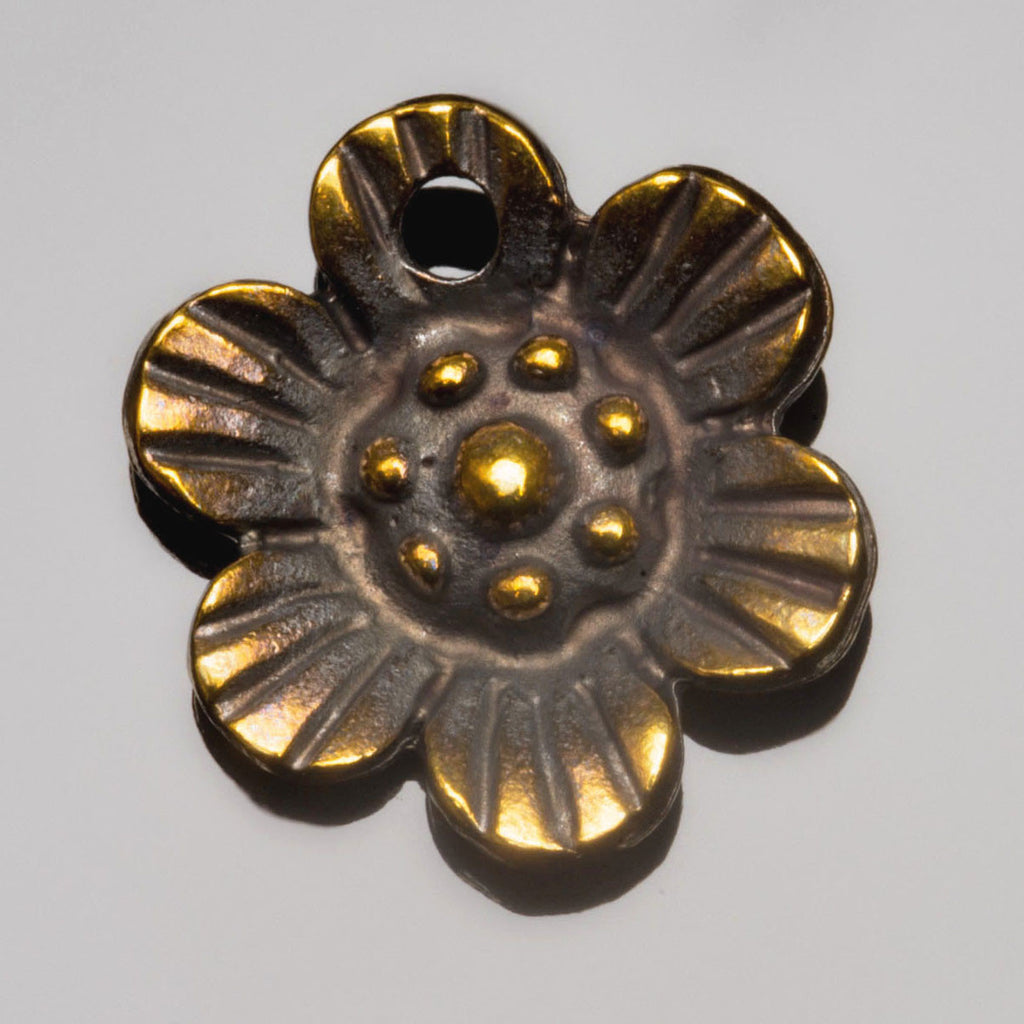 Antique brass cast flower charm, 23mm, 2.75mm Hole